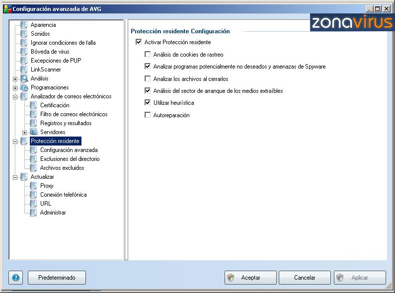Configuracion Avanzada - Proteccion Residente