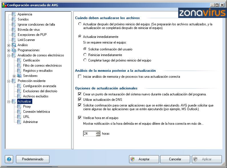 Configuracion Avanzada - Actualizar