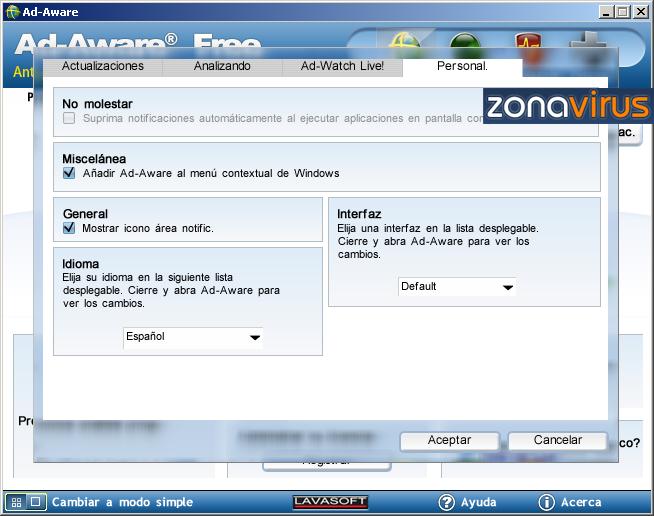 Configuracion Personal de Adware